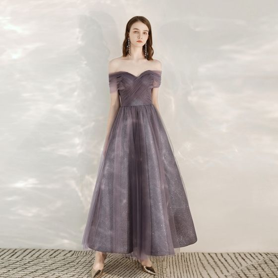 Chic / Beautiful Grape Homecoming Graduation Dresses 2020 A-Line / Princess Off-The-Shoulder Short Sleeve Glitter Tulle Ankle Length Ruffle Backless Formal Dresses