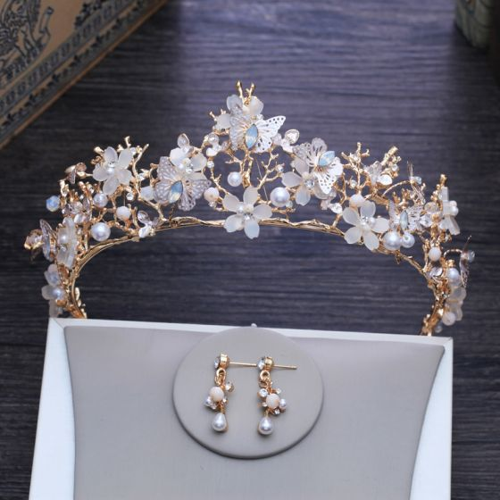 Amazing / Unique Butterfly Flower Gold Tiara 2018 Metal Pearl Rhinestone Earrings Bridal Jewelry Accessories
