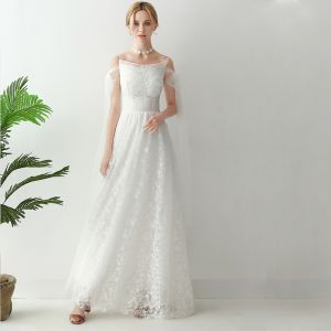 Mooie / Prachtige Witte Lange Avondjurken 2018 A lijn U-hals Tule Appliques Ruglooze Kralen Huwelijk Avond Gelegenheid Jurken