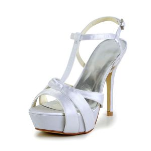 Fashion White Bridal Shoes Satin Stilettos Platform Strappy Sandals