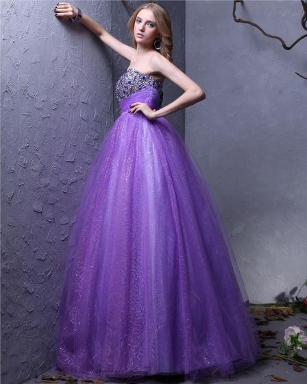 Vestido De Bola De Hilo Longitud Del Piso Cariño Abalorios Para Mujer Vestido De Quinceañera Gala