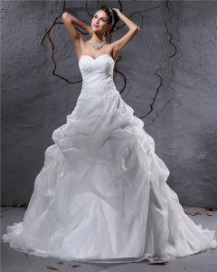 Eleganta Organza Veckad Applikationer Alskling Golv Langd Domstol Tag Balklänning Brudklänningar Bröllopsklänningar