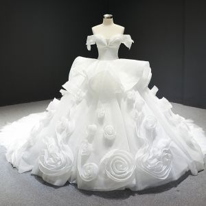 Stunning White Wedding Dresses 2020 Ball Gown Off-The-Shoulder Short Sleeve Backless Flower Tulle Cathedral Train Ruffle