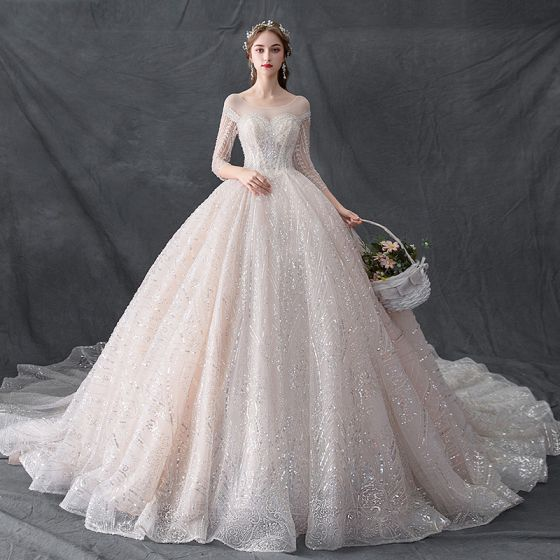 7822a0132b Luxury   Gorgeous Champagne See-through Wedding Dresses 2019 Ball Gown Scoop  Neck 3 4 Sleeve Backless ...