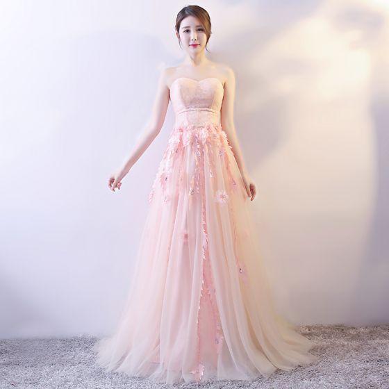 376893509 Elegantes Perla Rosada Vestidos de noche 2018 A-Line   Princess Apliques  Rebordear Lentejuelas V-Cuello Bowknot Sin Espalda Sin Mangas Largos ...
