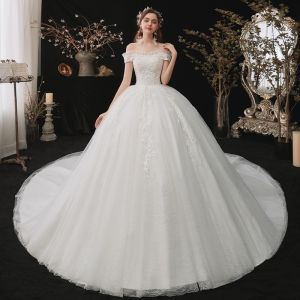 Chic / Beautiful White Bridal Wedding Dresses 2020 Ball Gown Off-The-Shoulder Short Sleeve Backless Appliques Lace Sequins Chapel Train Ruffle