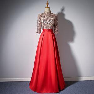 Elegante Rot Abendkleider 2018 A Linie Stehkragen 3/4 Ärmel Perlenstickerei Quaste Lange Rüschen Festliche Kleider