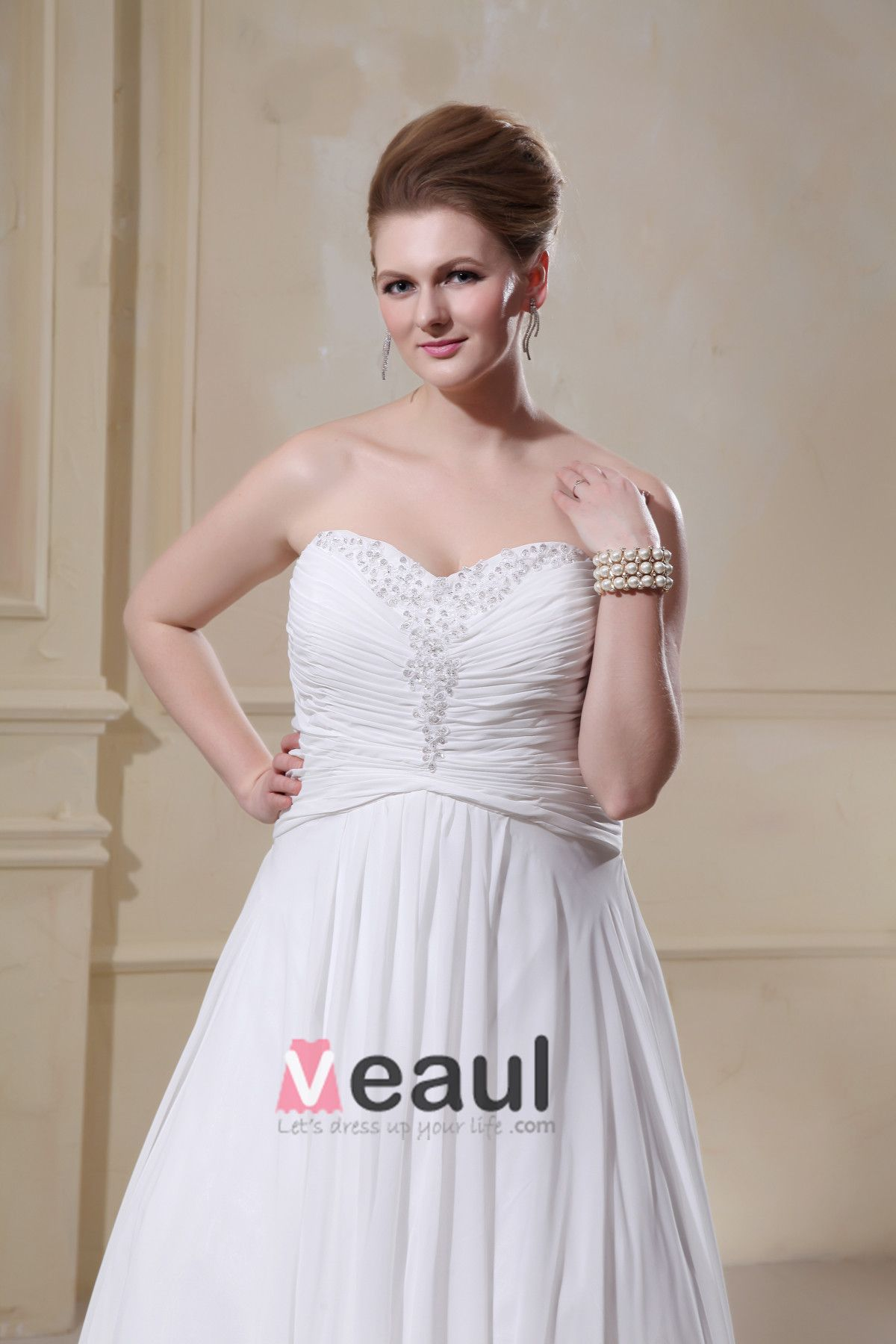 Chiffon Beading Sweetheart Court Plus Size Bridal Gown Wedding Dress