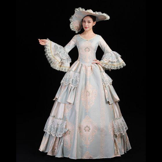 Vintage / Originale Médiévale Bleu Ciel Robe Boule Robe De Bal Manches Longues U-Cou Longue Fermeture éclair En Dentelle Fait main Brodé Cosplay Robe De Ceremonie