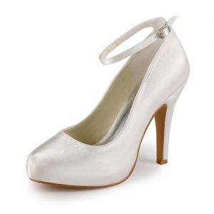 Simple Ivory Bridal Shoes Satin Stilettos Pumps With Ankle Strap