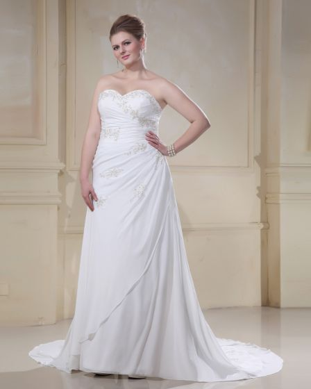 Stylish Sweetheart Beading Embroidery Court Train Plus Size A-Line Wedding Dress