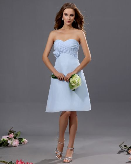 Fashion A-line Strapless Chiffon Tea-length Bridesmaid Dress