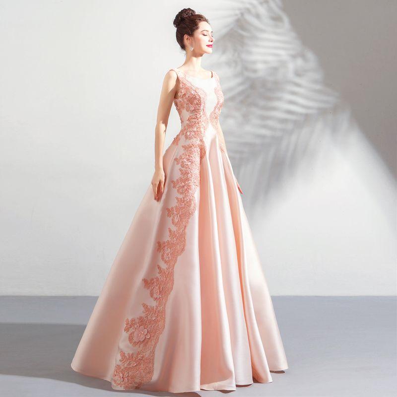 Modern Parel Roze Galajurken 2018 A lijn Kant Bloem Appliques Parel Ronde Hals Ruglooze Mouwloos Lange Gelegenheid Jurken