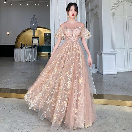 Illusion Champagne Transparentes Robe De Soirée 2020 Princesse Encolure Dégagée Manches Courtes Appliques Étoile Paillettes Longue Volants Robe De Ceremonie