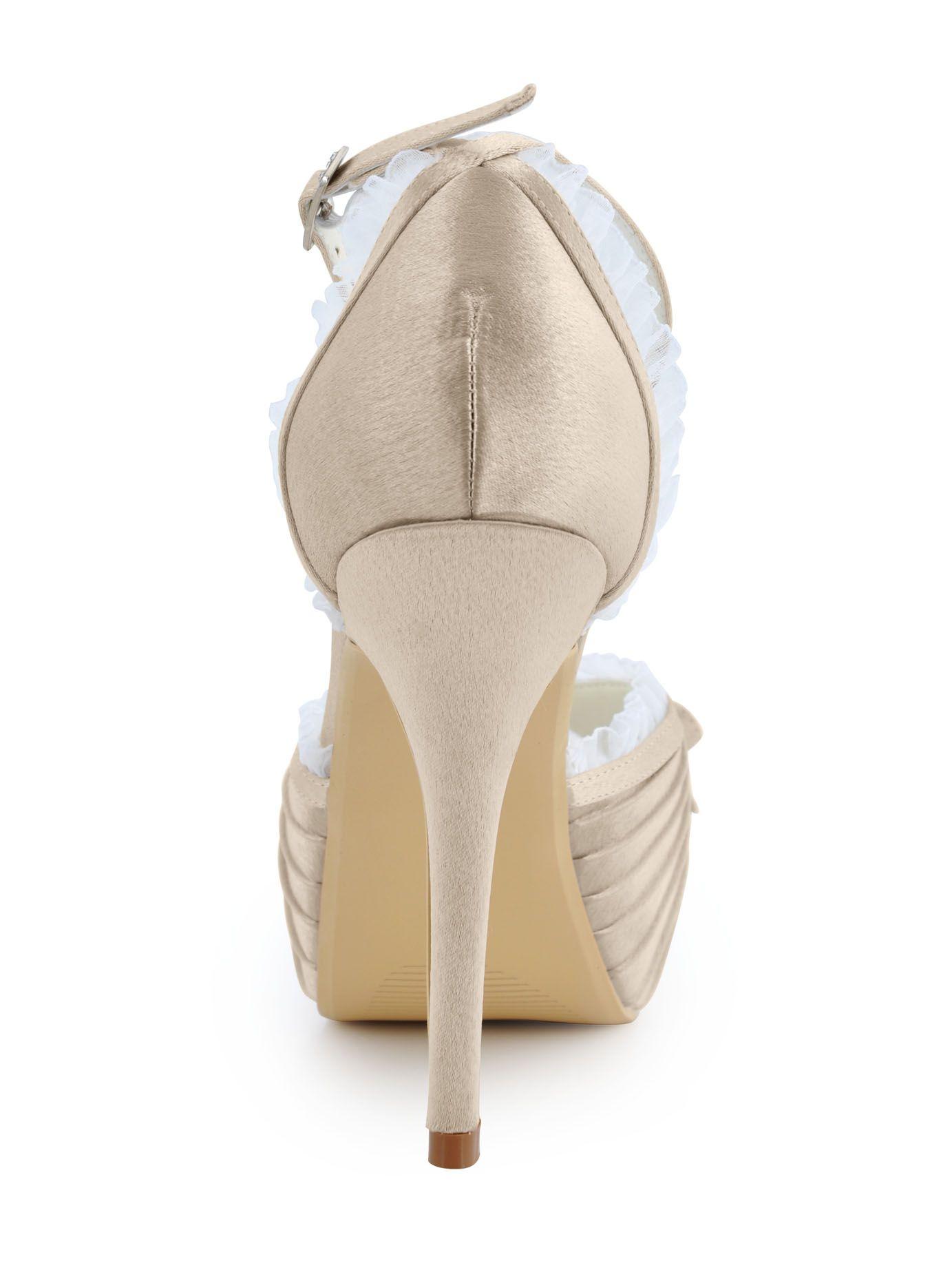 De Nieuwe Ultra-hoge Hakken Feestschoenen Beige Satijnen Handgemaakte Custom Trouwschoenen Bruidsschoenen