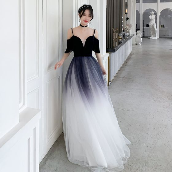 Chic / Beautiful Navy Blue Gradient-Color White Evening Dresses  2020 A-Line / Princess Spaghetti Straps Short Sleeve Sash Floor-Length / Long Ruffle Backless Formal Dresses
