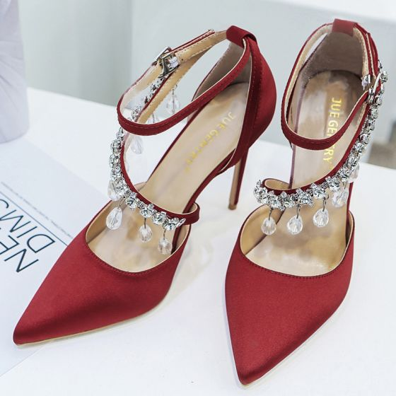 Charming Burgundy Wedding Shoes 2020 Rhinestone Ankle Strap 8 cm Stiletto Heels Pointed Toe Wedding High Heels