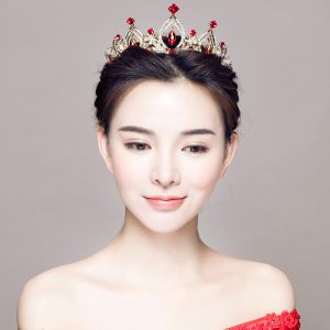 Chic / Beautiful Red Bridal Jewelry 2017 Metal Crystal Rhinestone Handmade  Headpieces Wedding Prom Accessories