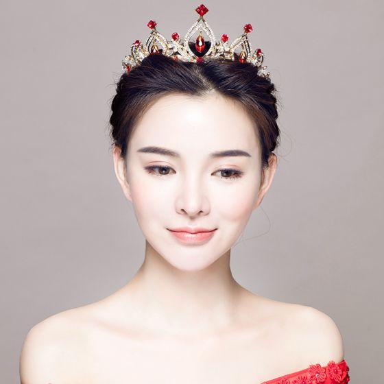 Chic / Beautiful Red Bridal Jewelry 2017 Metal Crystal Rhinestone Handmade  Headpieces Wedding Prom Accessories