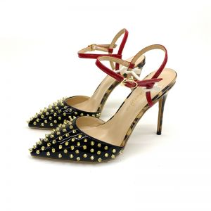 Chic / Beautiful Black Casual Rivet Womens Sandals 2020 Ankle Strap 12 cm Stiletto Heels Pointed Toe Sandals