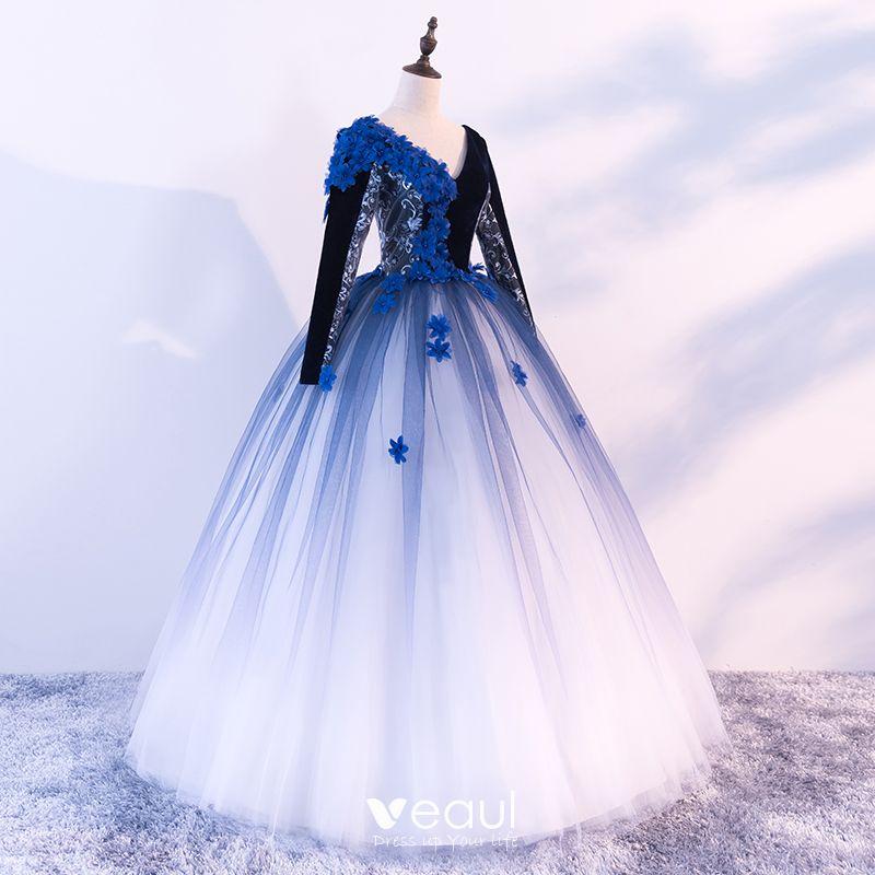 Black Royal Blue White Prom Dresses