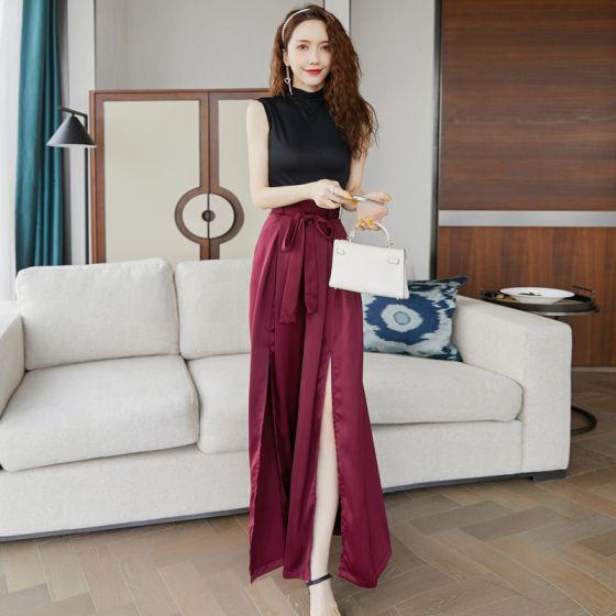 2 Kawałek Czarne Burgund Długie sukienki 2020 Wysokiej Szyi Bez Rękawów Długie Podział Przodu Odzież damska