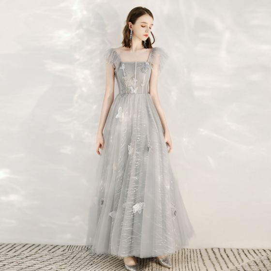 Lovely Grey Prom Dresses 2020 A-Line / Princess Shoulders Sleeveless Butterfly Appliques Lace Beading Ankle Length Ruffle Backless Formal Dresses