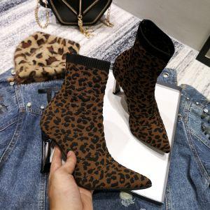 Schöne Braun Strassenmode Leopardenmuster Stiefel Damen 2020 9 cm Stilettos Spitzschuh Stiefel