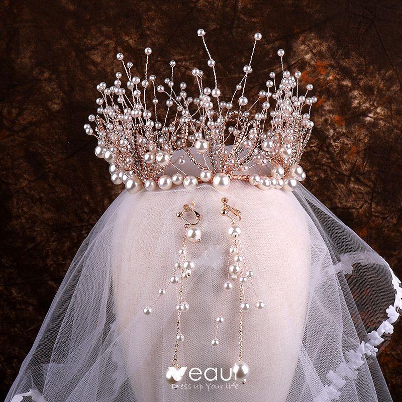 Best Rose Gold Pearl Rhinestone Bridal Jewelry 2020 Metal Earrings Tiara Bridal Hair Accessories