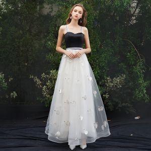 Mode Weiß Abendkleider 2019 A Linie Spaghettiträger Ärmellos Rückenfreies Applikationen Lange Festliche Kleider