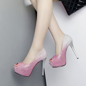 Chic / Beautiful Prom Pumps 2017 Leather Sequins Platform Open / Peep Toe High Heel Pumps