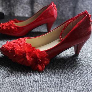 Chic / Belle Rouge Talon Bas Chaussure De Mariée 2020 En Dentelle Fleur Appliques Perle 4 cm Talons Aiguilles À Bout Pointu Mariage Escarpins