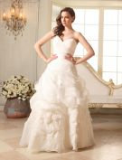 2015 Ball Gown Sweetheart Ruffle Handmade Flower One Shoulder Wedding Dresses
