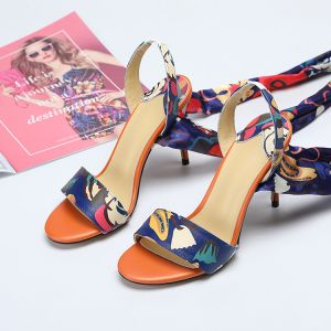 Chic / Beautiful Multi-Colors Street Wear Floral Womens Sandals 2020 Leather Ankle Strap 10 cm Stiletto Heels Open / Peep Toe Sandals