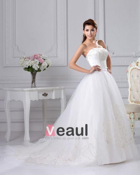 Axelbandslos Chapel Tag Organza Satin Balklänning Brudklänningar Bröllopsklänningar