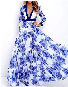 Modern / Fashion Ocean Blue Maxi Dresses 2018 A-Line / Princess Printing V-Neck Long Sleeve Floor-Length / Long Women's Clothing