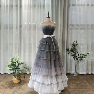 Chic / Belle Gris Robe De Bal 2020 Princesse Bustier Sans Manches Ceinture Glitter Tulle Longue Dos Nu Volants en Cascade Robe De Ceremonie