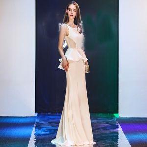 Moda Marfil Vestidos de noche 2019 Trumpet / Mermaid Spaghetti Straps Escote Cuadrado Sin Mangas Largos Ruffle Sin Espalda Vestidos Formales