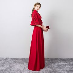Chic / Beautiful Burgundy Evening Dresses  2019 A-Line / Princess High Neck Beading Lace Flower Appliques Bell sleeves Floor-Length / Long Formal Dresses