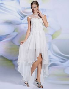 2015 Empire White Lace Asymmetrical Summer Cocktail Dress Party Dress