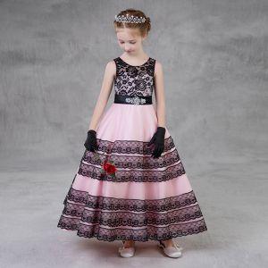 Mooie / Prachtige Zwarte Candy Roze Bloemenmeisjes Jurken 2018 A lijn Ronde Hals Mouwloos Rhinestone Gordel Enkellange Ruche Jurken Voor Bruiloft