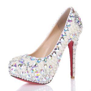 Luxe Pompes Blanche Élégante Plateforme Perle De Cristal Strass Chaussures De Mariée