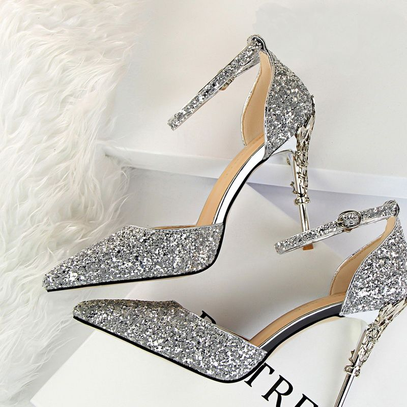 Sparkly Silver High Heels 2018 Cocktail Party Evening Party Prom 9 cm Heels Pointed Toe Ankle Strap Glitter Womens Shoes