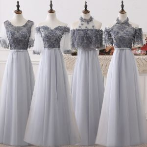 Schöne Grau Brautjungfernkleider 2018 A Linie Applikationen Blumen Schleife Stoffgürtel Lange Rüschen Rückenfreies Kleider Für Hochzeit