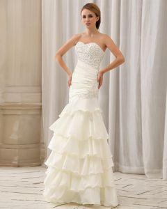 Stilvolle Dünne Pailletten Ruffle Bodenlangen Liebsten Taft Mermaid Brautkleid