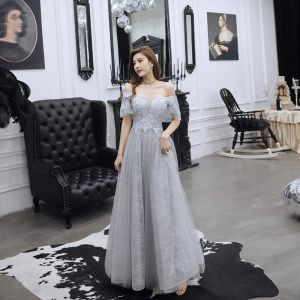Charming Grey Evening Dresses  2019 A-Line / Princess Off-The-Shoulder Beading Pearl Rhinestone Lace Flower Short Sleeve Backless Floor-Length / Long Formal Dresses