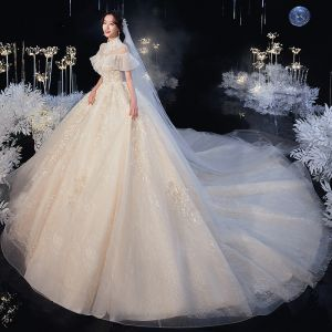 Vintage / Retro Champagne Bridal Wedding Dresses 2020 Ball Gown See-through High Neck Short Sleeve Backless Beading Appliques Lace Cathedral Train Ruffle