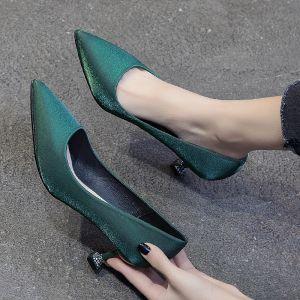 Chic / Beautiful Dark Green Prom Satin Pumps 2020 5 cm Stiletto Heels Pointed Toe Pumps