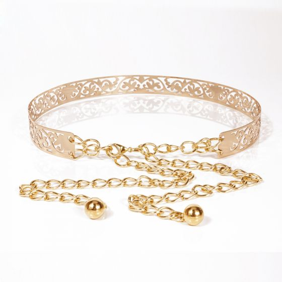 Modern / Fashion Gold Prom Belt 2020 Metal Striped Buckle Cocktail Party Evening Party Accessories