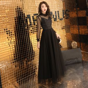 2 Piece Black Evening Dresses  2019 A-Line / Princess High Neck Long Sleeve See-through Spotted Tulle Glitter Sequins Sash Floor-Length / Long Ruffle Formal Dresses